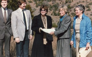 Travis County Judge Bill Aleshire and Commissioners Bruce Todd and Pam Reed at the opening of the Southwest Parkway, 1987