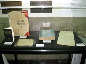A display of historic records and artifacts