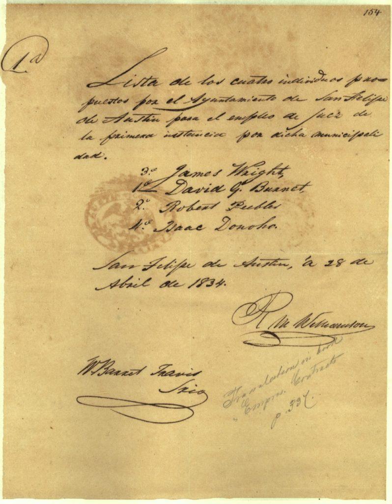 Correspondence of the San Felipe de Austin ayuntamiento with Travis's signature, 1834